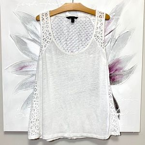 BANANA REPUBLIC Tank Top with Lace White Size S